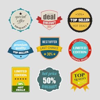 オンラインショッピングの製品のプロモーションのウェブサイトやモバイルサイト用のフラットなデザインの販売ステッカーのベクトルイラストのセットは、広告印刷材料バッジ