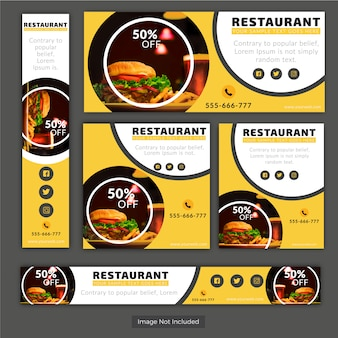 Discount Banner For Restaurant Banner Set