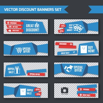 Discount banners blue origami set