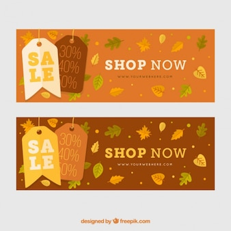 Discount banners in warm colors