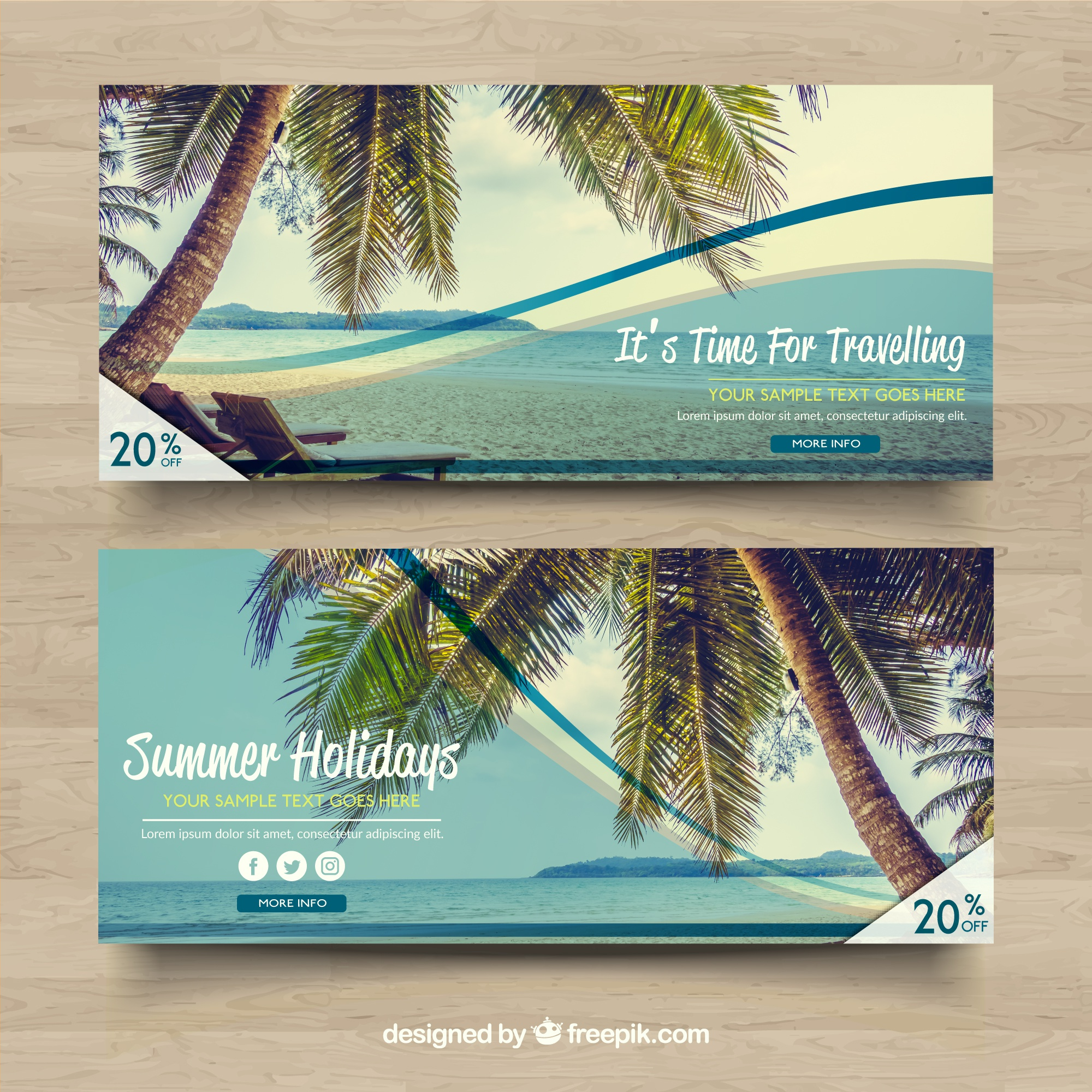 Discount banners with beach landscape