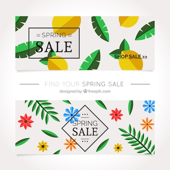 Discount banners with flowers and lemons