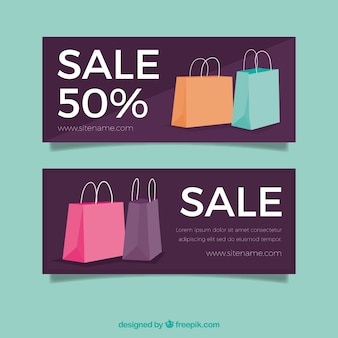 Discount banners with shopping bags