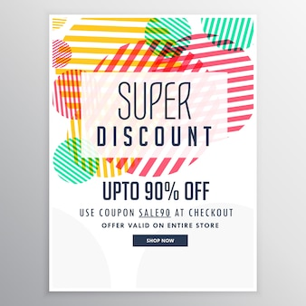 Discount brochure with circles and lines