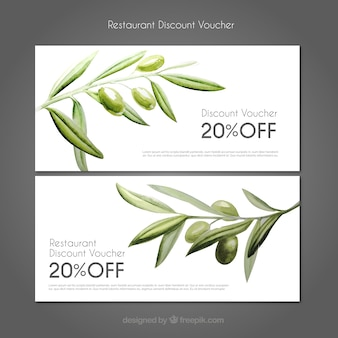 Discount coupons restaurant with watercolor olives