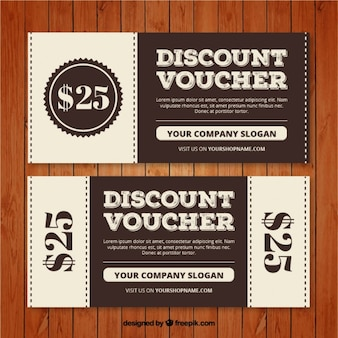 Discount coupons set in retro style