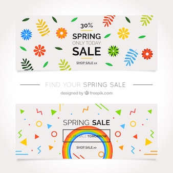 Discount flower banners and abstract shapes