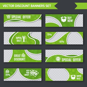 Discount promotion advertising green paper banners set isolated vector illustration