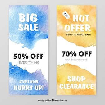 Discount stickers in watercolor