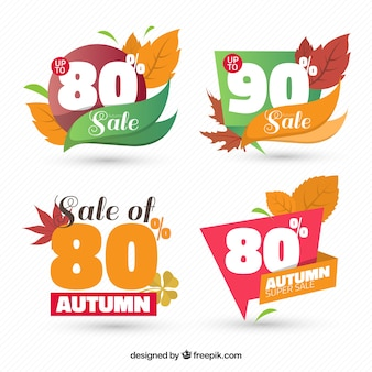 Discount stickers with autumn leaves