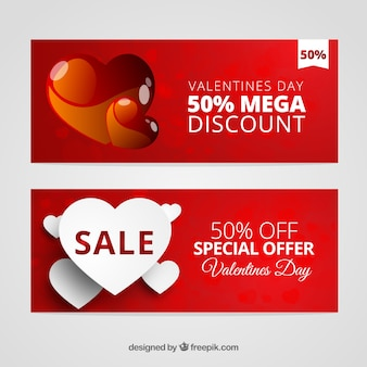 Discount valentine red banners