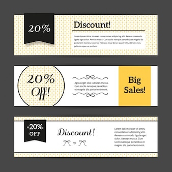 Discount voucher templates with cute pattern collection