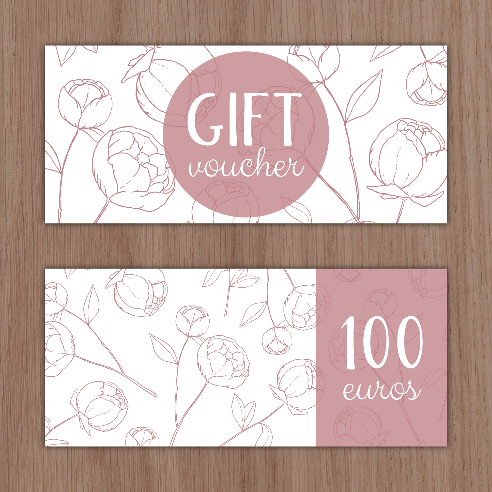 Discount voucher with hand drawn flowers