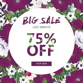 Discount voucher with purple flowers