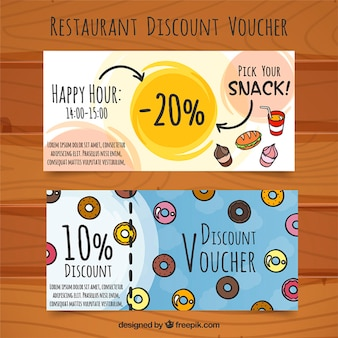 Discount vouchers for food, hand drawn
