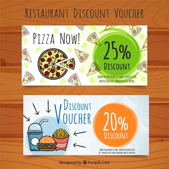 Discount vouchers for food, hand painted