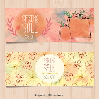Discount watercolor spring banners