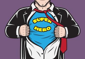 偽装隠された漫画本スーパーヒーローのビジネスマンは彼のシャツのコンセプトベクトル図