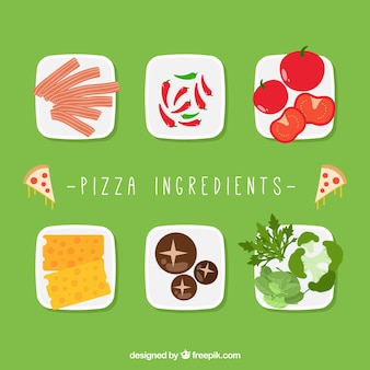 Dishes with pizza ingredients