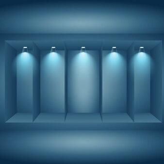 Display wall with lights
