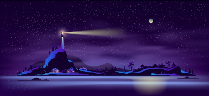 Distant northern island cartoon vector landscape