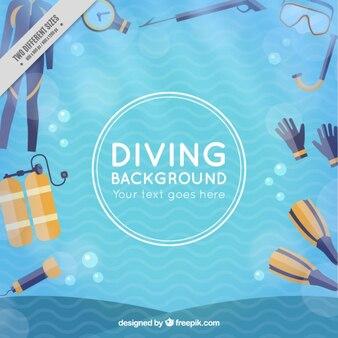 Diving background in flat design