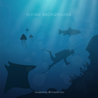 Diving background with silhouettes