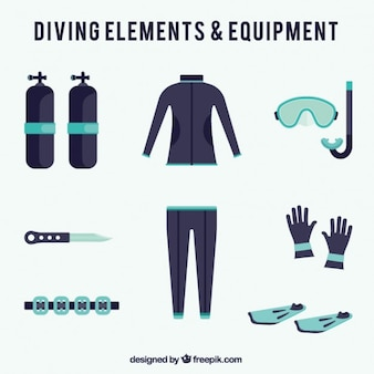 Diving element collection in flat design