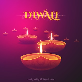 Diwali background with candles