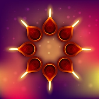 Diwali background with circle made with candles