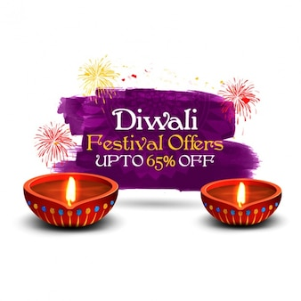 Diwali background with fireworks and great discount
