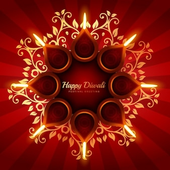 Diwali background with floral ornaments