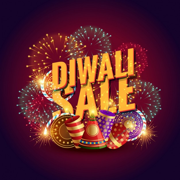 Diwali background with sales elements and fireworks