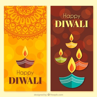 Diwali banners in flat design