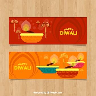 Баннеры Diwali в плоском дизайне