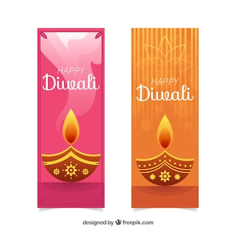 Diwali banners with candles
