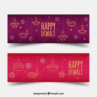 Diwali banners with sketches of candles and stars