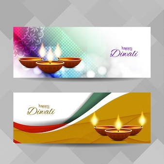 Diwali banners with wavy shapes
