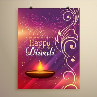 Diwali brochure with a candle and ornaments