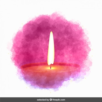Diwali candle in watercolor style