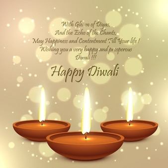 Diwali card with golden bokeh background