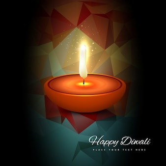 Diwali card with low poly background