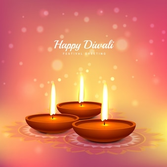 Diwali card with pink background