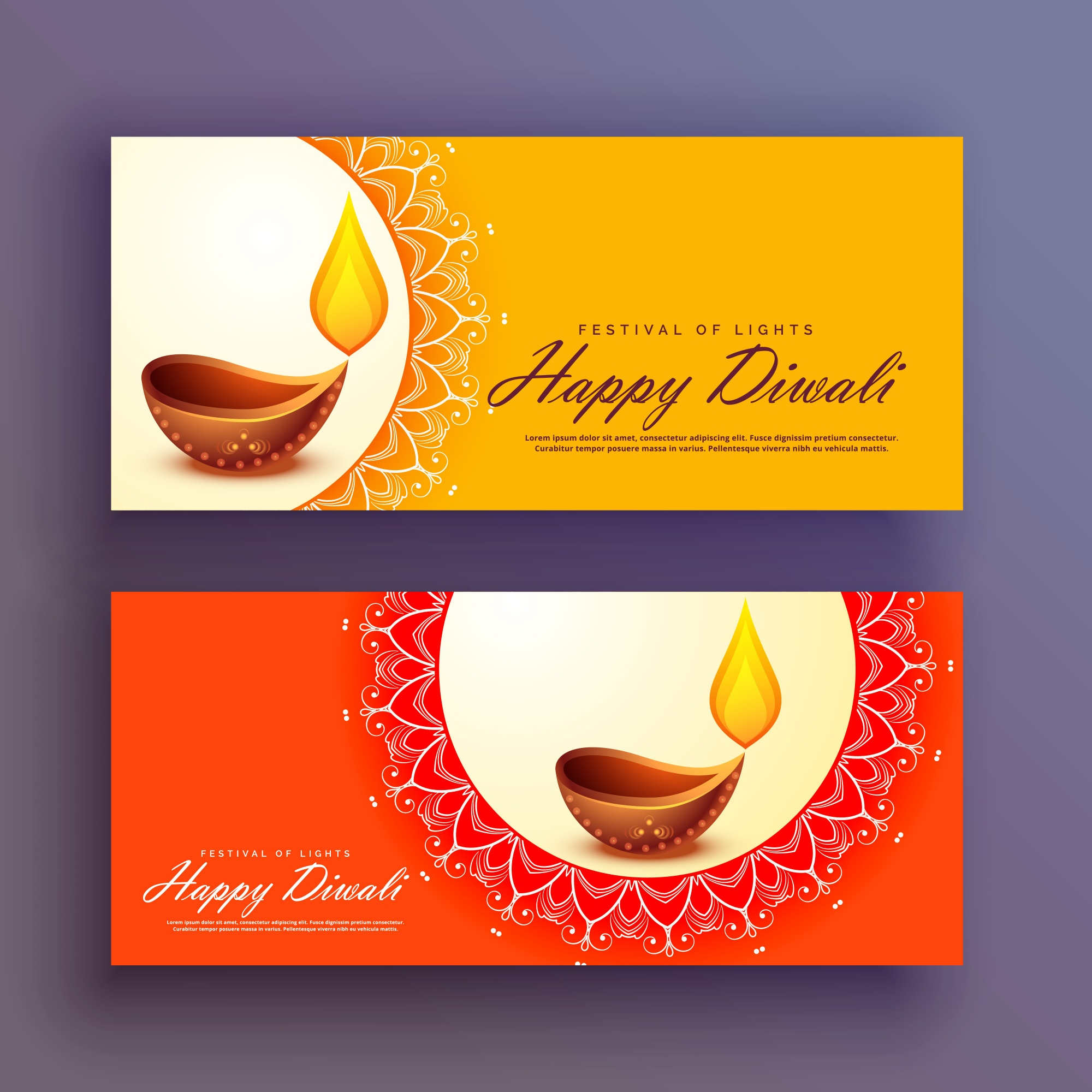 Diwali festival banners card vector background