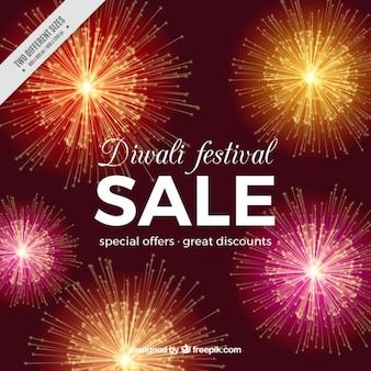 Diwali festival sale background with fireworks