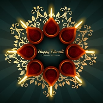 Diwali greeting vector background design with floral ornaments