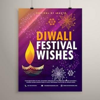 Diwali purple brochure with a candle
