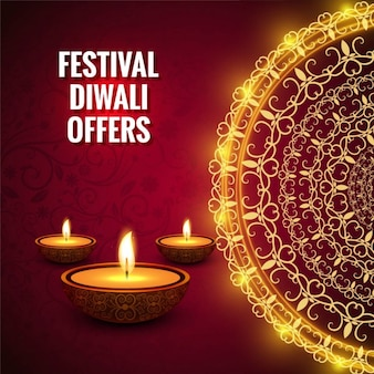 Diwali red background with a golden mandala