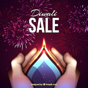Diwali sale background with candle and fireworks