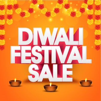 Diwali sale background with decorative flowers